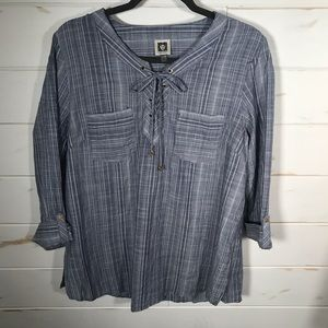 Anne Klein striped chambray top
